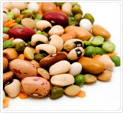 Variety of several different types of healthy beans.