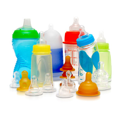 Assorted baby bottles.