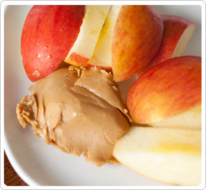 Closeup of apples and peanut butter