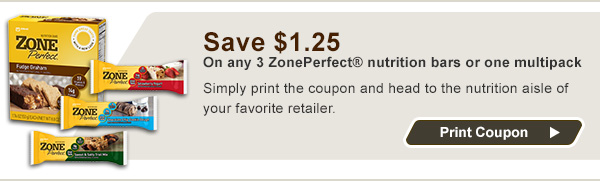 Save $1.25 On any 3 ZonePerfect® nutrition bars or one multipack.