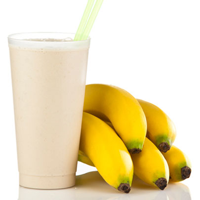 PediaSure® recipe of a smoothie with two straws and bananas