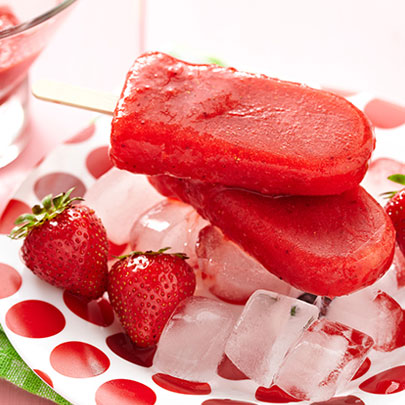 PediaSure® recipe for fresh strawberry yogurt ice pops