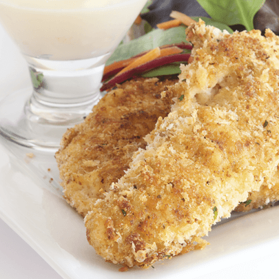 PediaSure® recipe for baked chicken fingers with ranch dip and salad