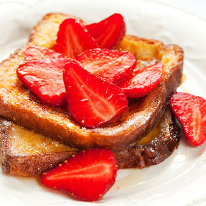 PediaSure® recipe for a french toast with fresh strawberries on top