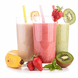 PediaSure® image of 3 smoothies including banana, strawberry and kiwi