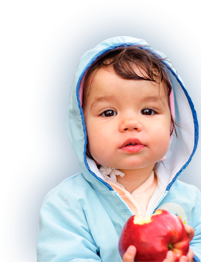 PediaSure® cropped image of a child that has bit into a red apple