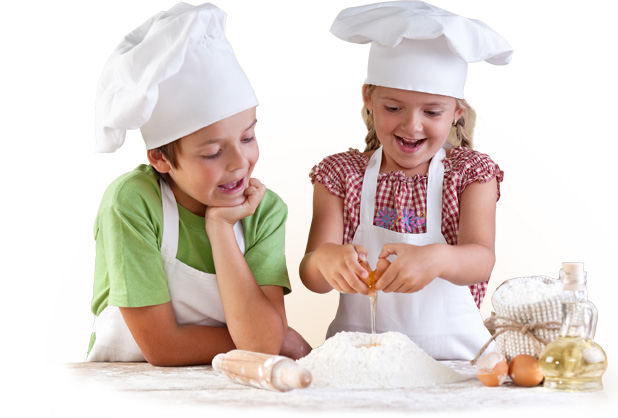 PediaSure® image of two children baking a recipe together