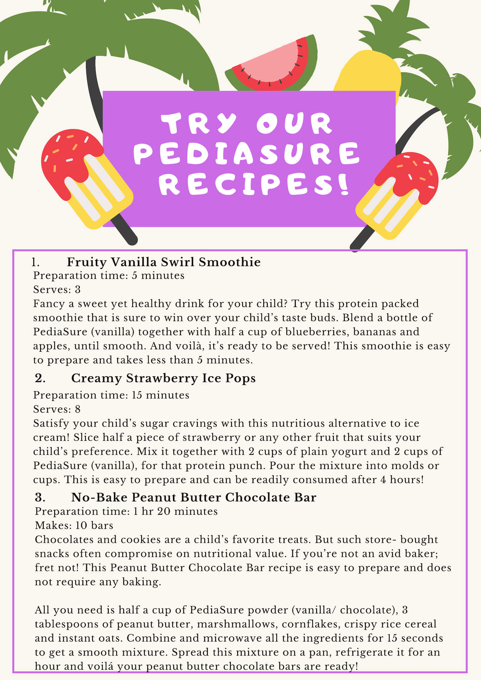 Pediasure recipes