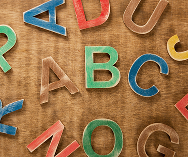 Alphabetical wooden letters
