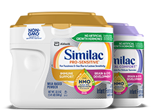 Similac Pro-Sensitive and Similac Pro-Total Comfort infant formulas for sensitive tummies