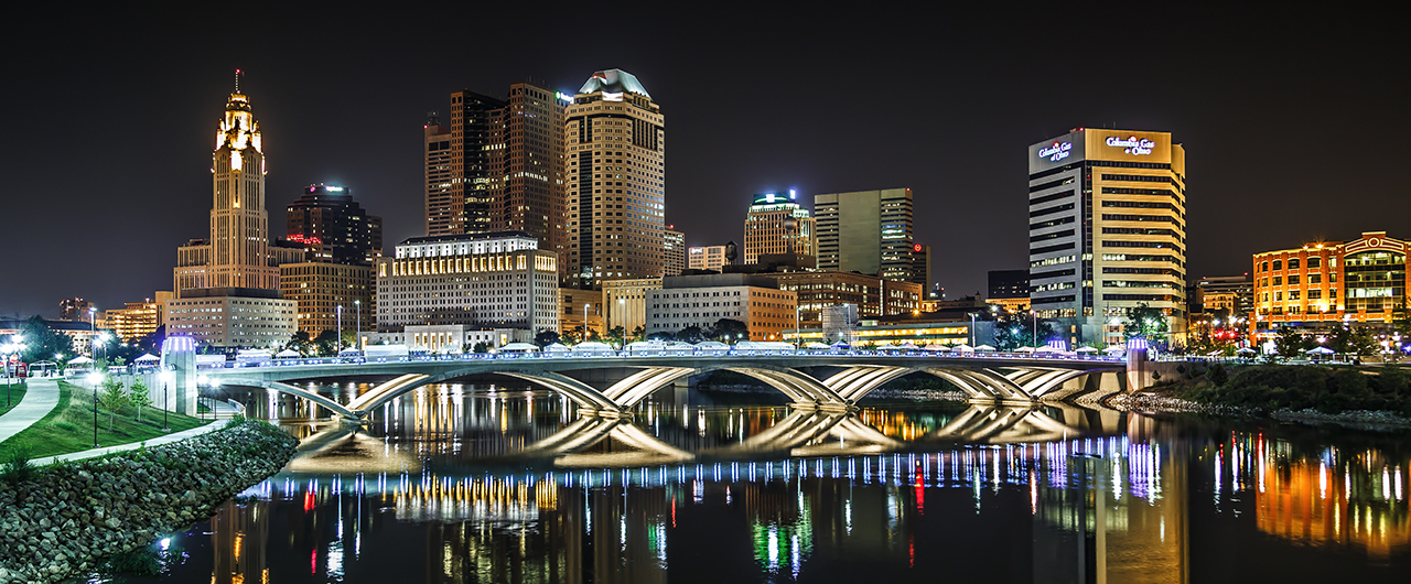 Columbus, Ohio, skyline along the Scioto River at night
