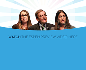 A slide features the three speakers from 39th E.S.P.E.N. Congress Symposium and invites you to watch the highlights.
