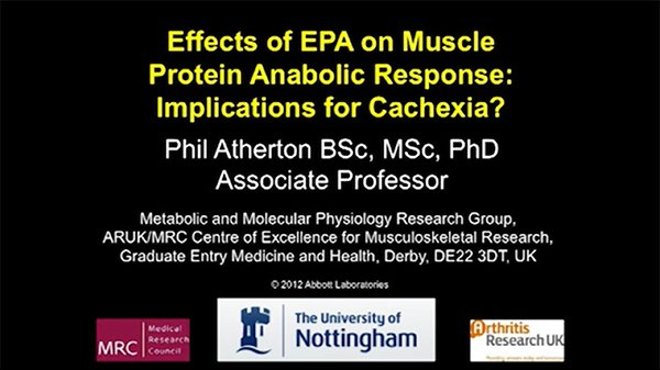 A slide introduces a presentation on the effects of EPA on muscle protein anabolic response.
