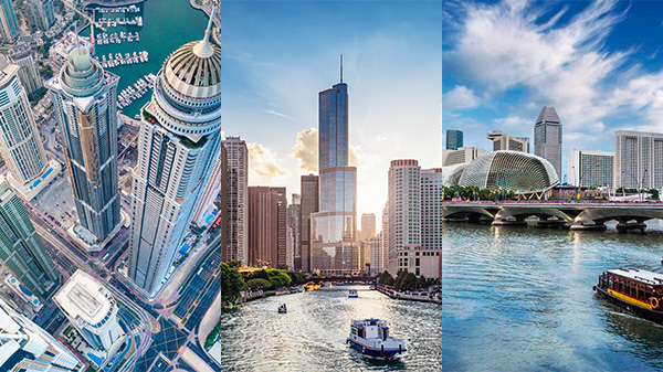 Composite image of the Singapore skyline, an aerial view of downtown Dubai, and the skyline along the Chicago River