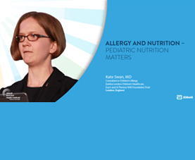 A slide introduces Kate Swan's presentation on allergy and nutrition.