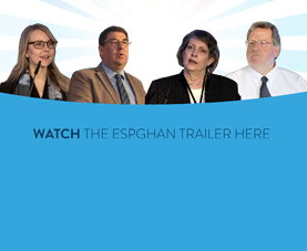 A slide depicts four presenters and says Watch the E.S.P.G.H.A.N. trailer here.