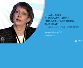 A slide shows Ardythe Morrow and introduces her presentation called Human Milk Oligosaccharide for Infant Nutrition and Health.