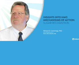 A slide shows Richard D. Cummings and introduces his presentation called Insights into HMO Mechanisms of Action: Sugar Recognition.
