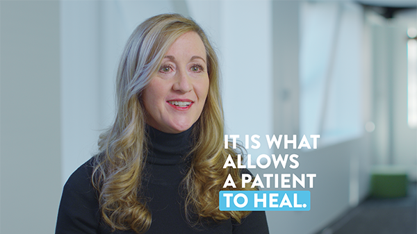 "A frame of Amie Heap discussing nutrition with the caption ""it is what allows a patient to heal."""