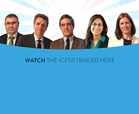 A slide depicts five presenters and says Watch the I.C.F.S.R. trailer here.