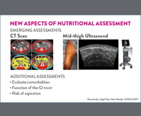 A slide discusses new aspects of nutritional assessment, including CT scans and mid-thigh ultrasounds.