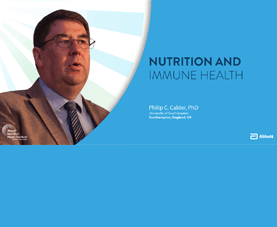 A slide shows Phillip Calder and introduces his presentation called Nutrition and Immune Health.