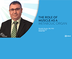A slide depicts Ricardo Rueda and introduces his presentation called The Role of Muscle as a Metabolic Organ.