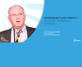 A slide introduces Dan Nemet's presentation on overweight and obesity.