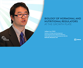 A slide introduces Julian Lui's video presentation on Biology of Hormonal and Nutritional Regulators at the Growth Plate.