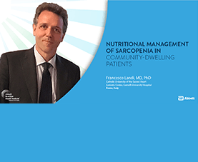 A slide depicts Francesco Landi and introduces his presentation called Nutritional Management of Sarcopenia in Community-Dwelling Patients.
