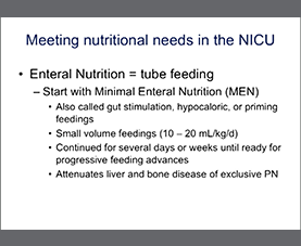 A slide on Meeting Nutritional Needs in the NICU