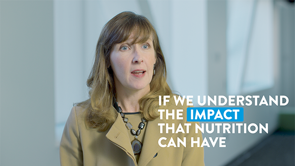 "A frame of Alison Steiber discussing nutrition with the caption ""if we understand the impact that nutrition can have."""