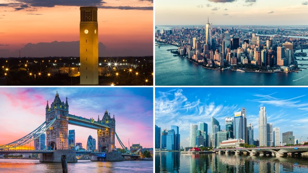 A photo composite of city scenes from College Station, TX; Manhattan; London; and Singapore.