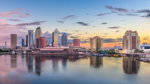 Tampa, Florida, USA, downtown skyline on the bay at dawn
