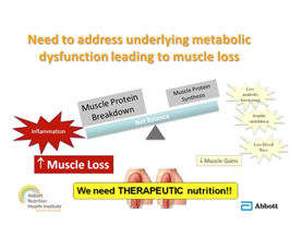 A slide discussing the need to address underlying metabolic dysfunction leading to muscle loss