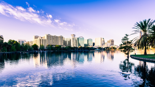 A morning view of the Orlando, Florida skyline along the coast