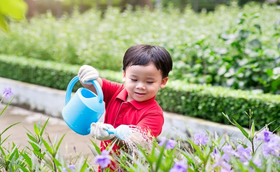 Young Child Watering Garden