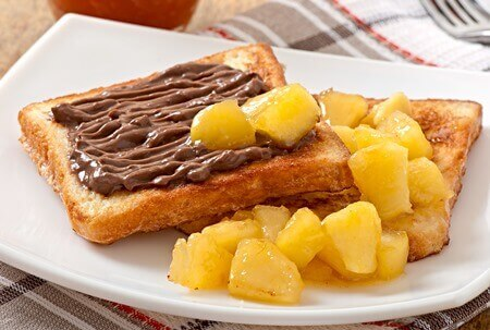 Brioche and chocolate cream sandwitch