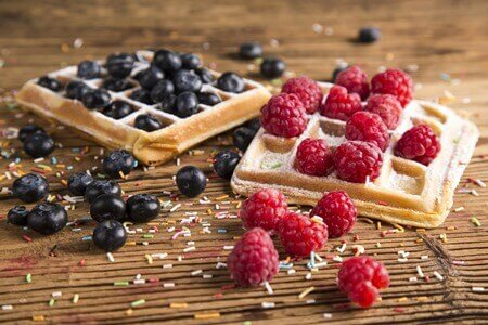 Chocolate waffles and Rasberry jam