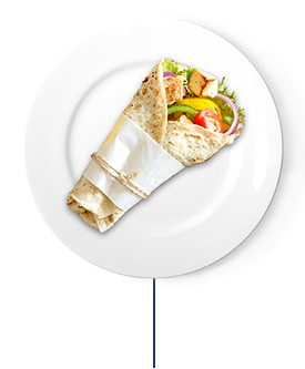 This wrap contains grilled chicken breast and grilled bell peppers