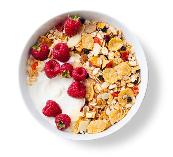 High fibre breakfast cereal with fresh raspberries on top