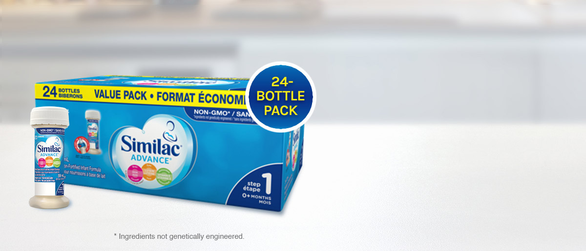 Similac® Advance® Step 1 value pack with 24 ready to use bottles