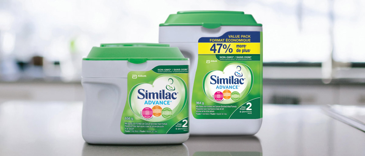 Similac® Advance® Step 2 baby formula in 658g and value powder packs
