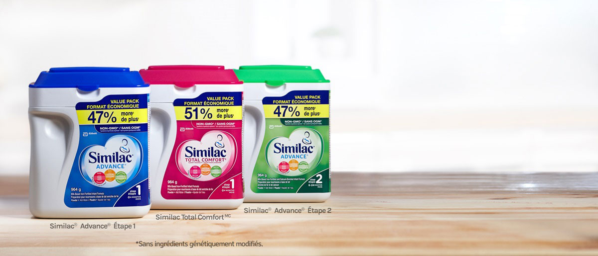 Similac® Advance® Étape 1, Similac® Advance® Étape 2 et Similac Total ComfortMC