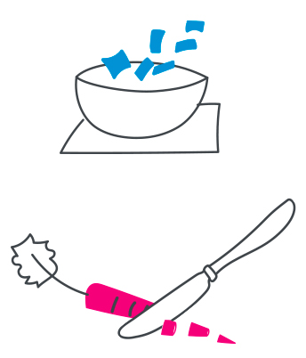 A knife cutting a carrot and throwing cut up food in a bowl