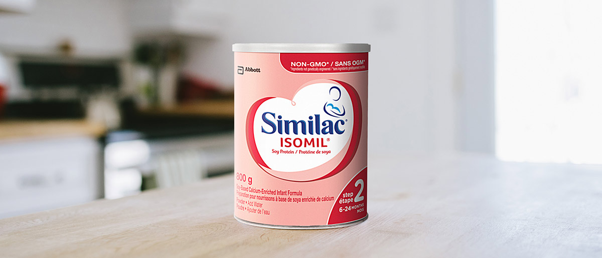Similac® Isomil® Step 2 non-GMO baby formula in a 850g powder can