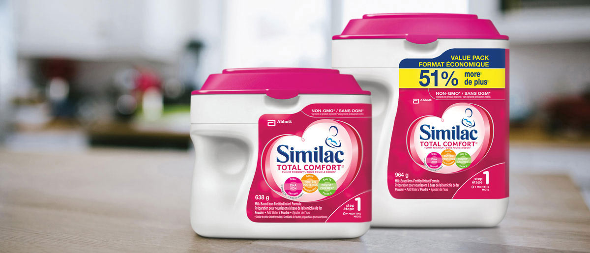 Similac® Total Comfort baby formula in 638g and value powder packs