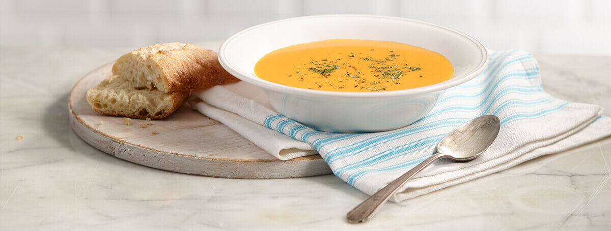 Healthy carrot ginger soup recipe made with Vanilla Ensure® Regular