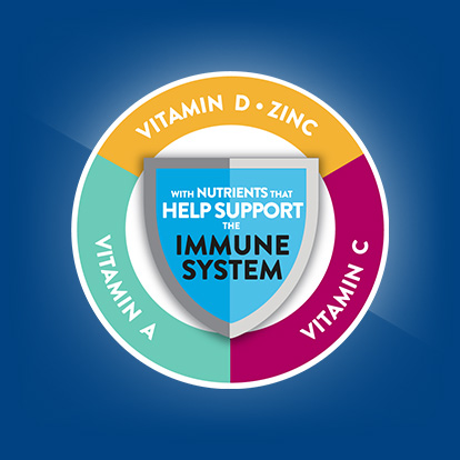 With vitamins D,C A and zinc that help support your immune system