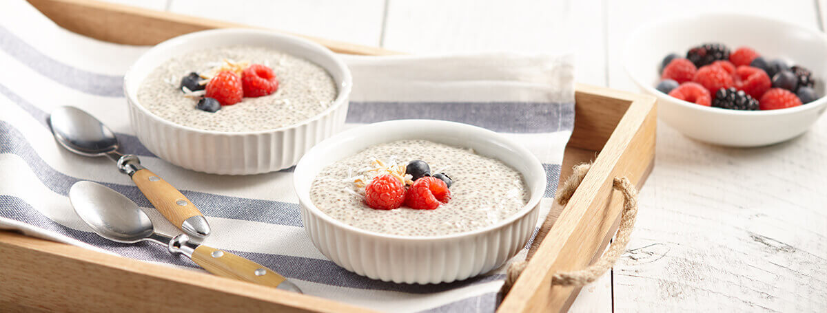 Vanilla coconut chia pudding recipe made with Ensure® scFOS Fibre‡‡